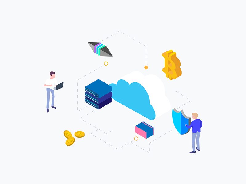 Isometric Graphic Cloud Mining Cryptocurrency