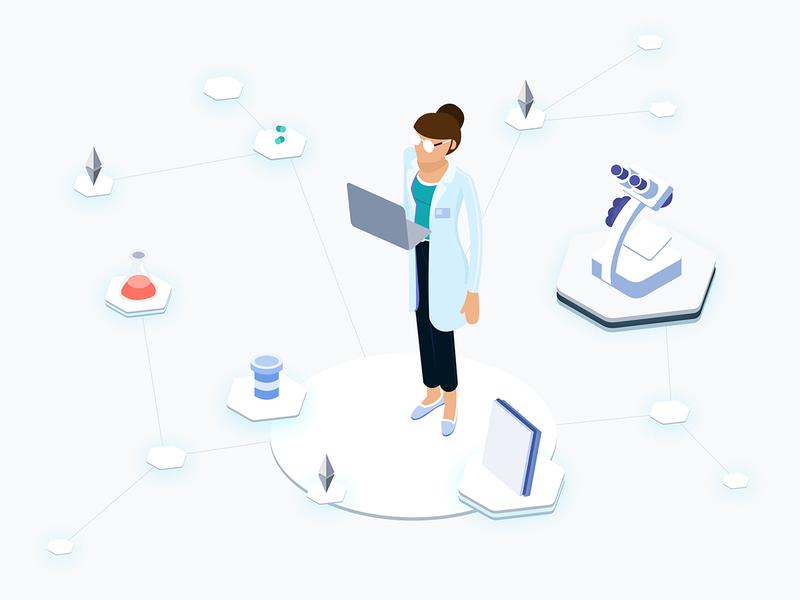 Health Blockchain Platfrom Isometric Graphic 2