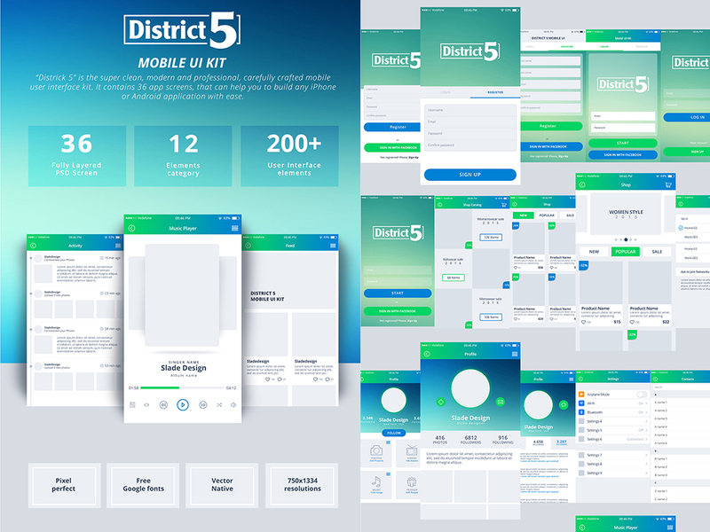District 5 mobile UI Kit