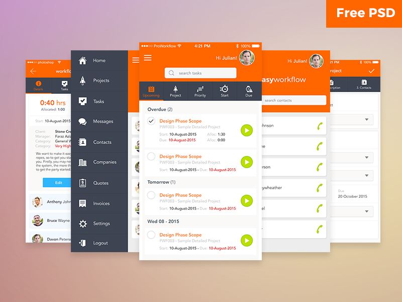 Workflow UI Free PSD preview picture