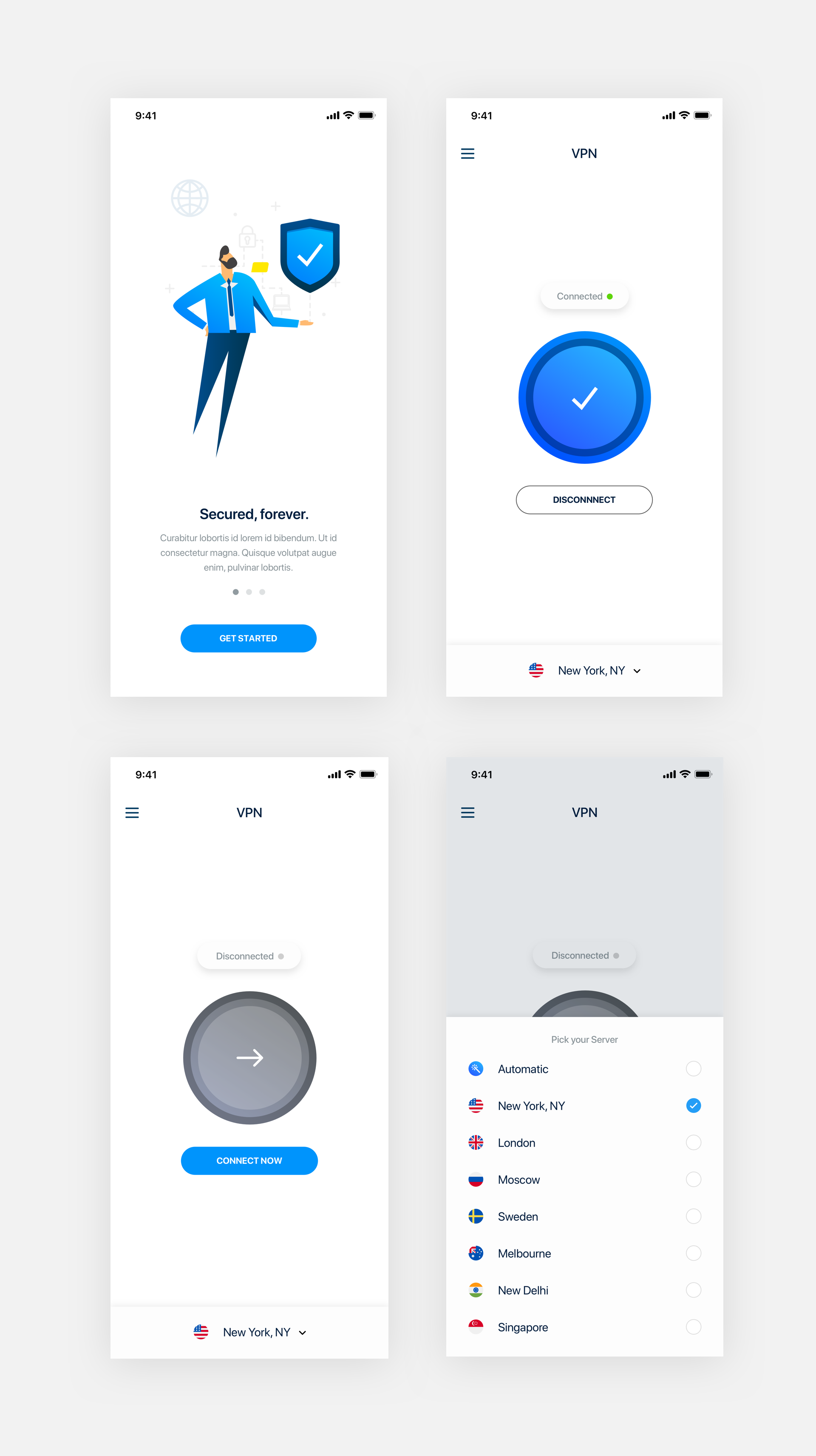 VPN Mobile App UI Kit