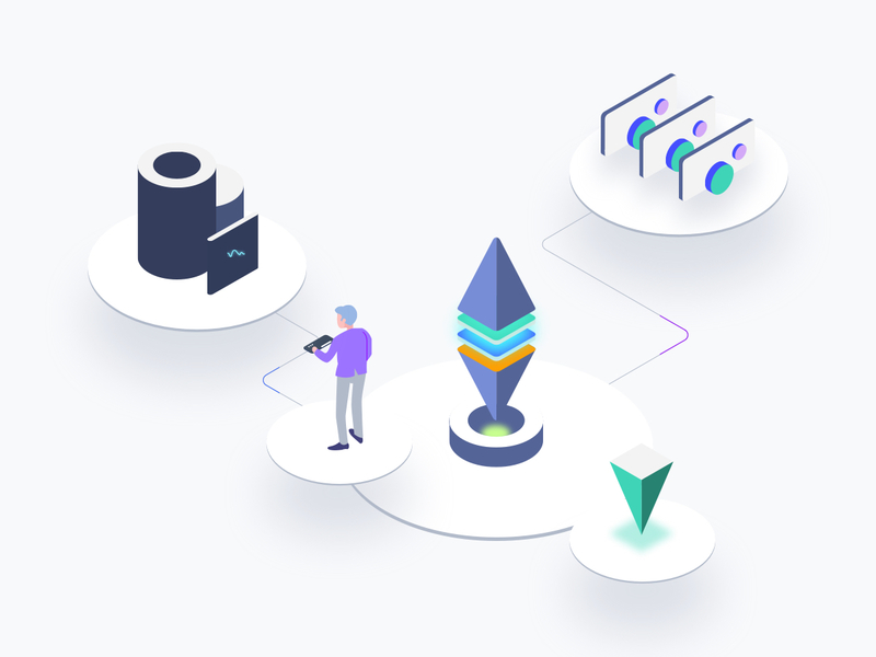 Blockchain Platform Isometric Graphic