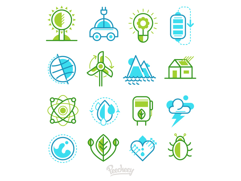 Eco icons set preview picture