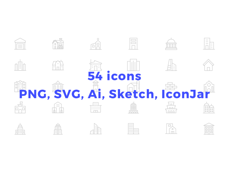 55 Minimalist Construction and Building icons.