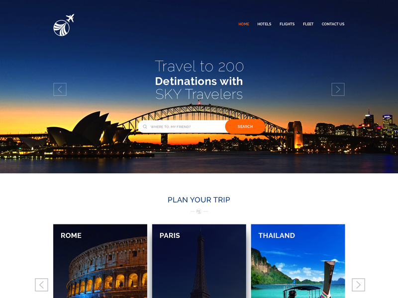FREE PSD Travel Landing Page preview picture