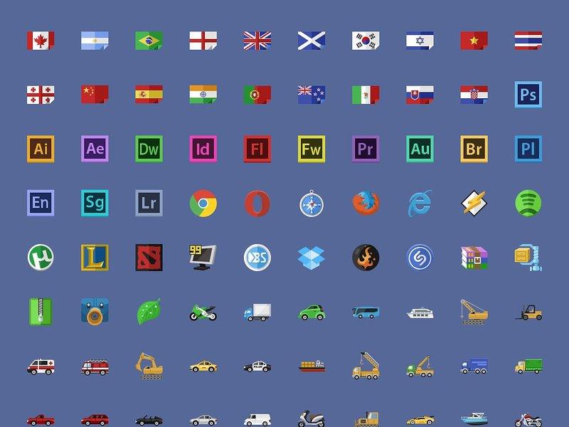 640 Flat icons+PixelDropr