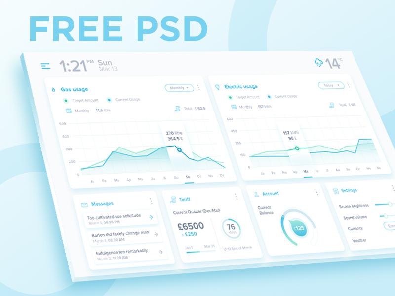 Dashboard FREE PSD preview picture