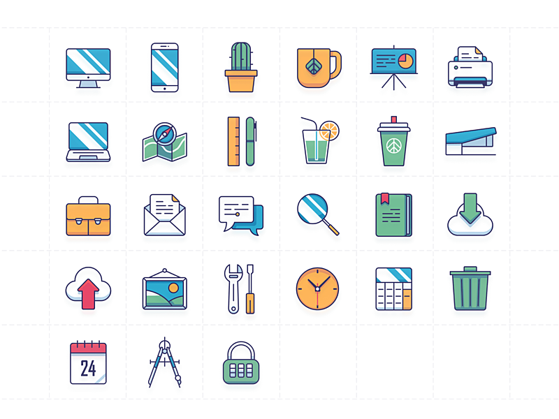 Colorful office icons