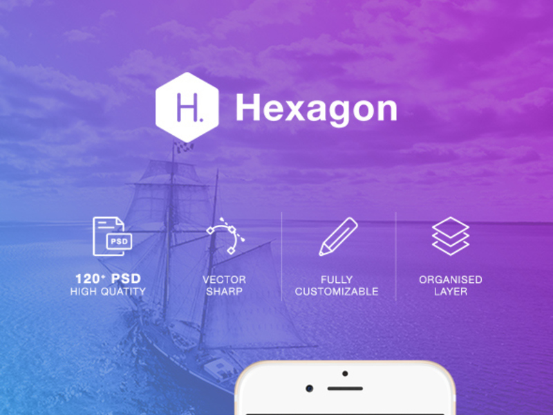 Hexagon Mobile UI Kit preview picture
