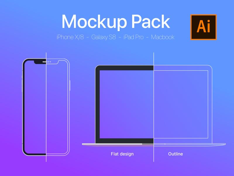XXL Mockup Pack [Flat Design / Outline Design]