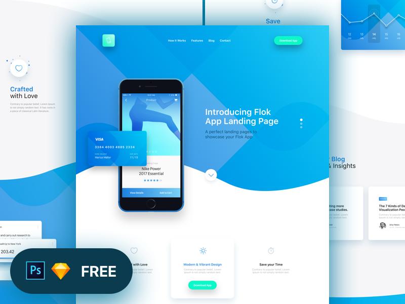 Flok App Landing Page Freebie