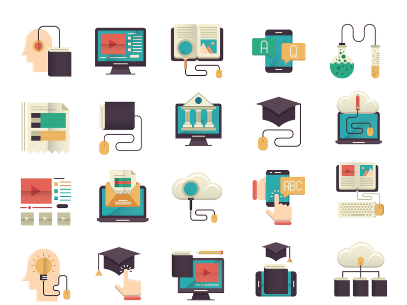 Online education icons set preview picture