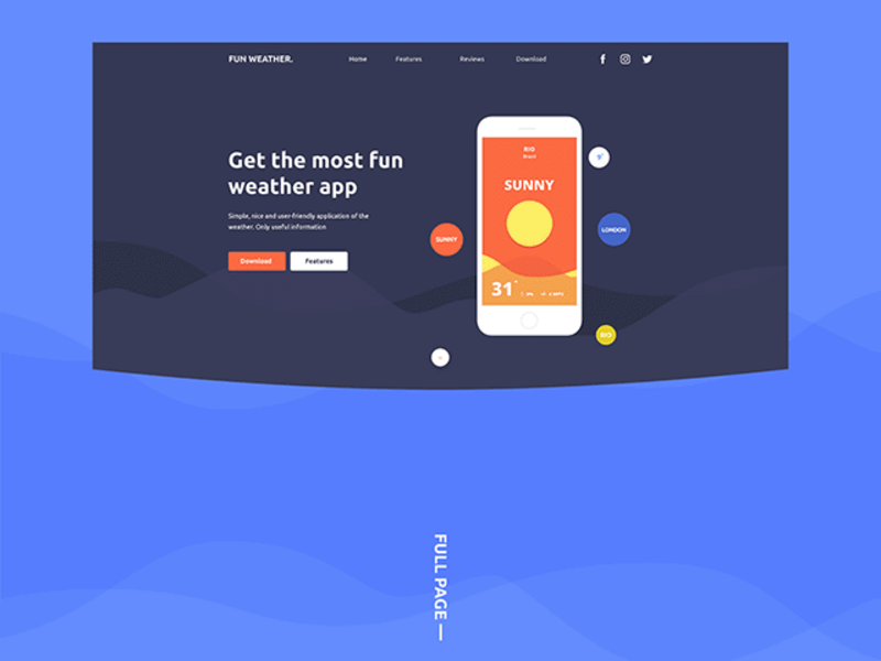 Fun Weather: PSD landing page template preview picture