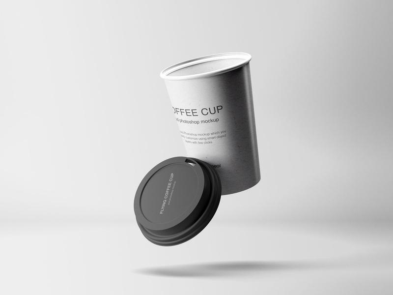 Flying Coffee Cup Mockup