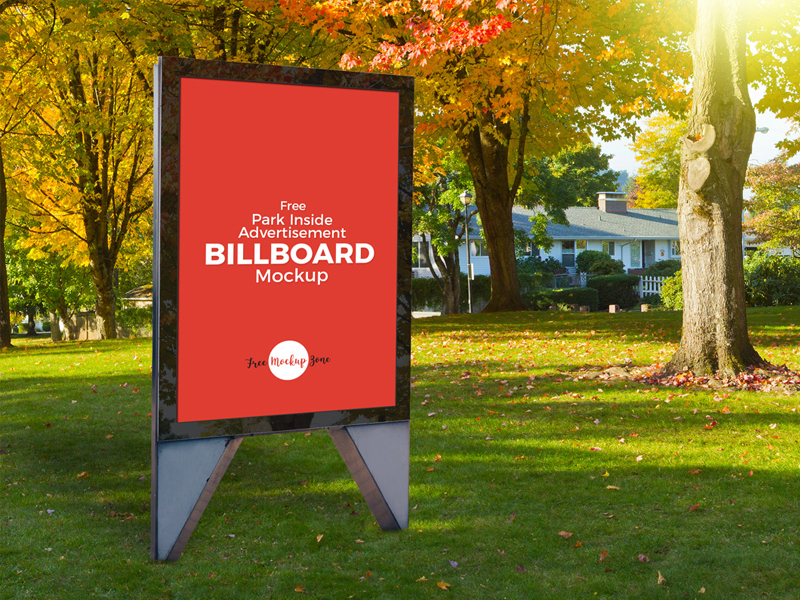 Park Advertisement Billboard Mockup