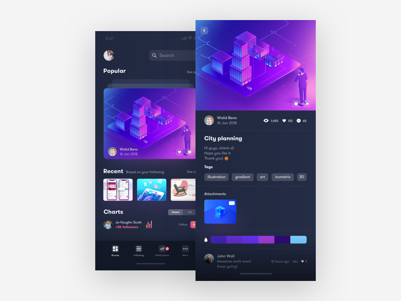 Dribbble App Concept preview picture