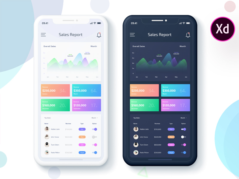 Sales Data Report Mobile App UI