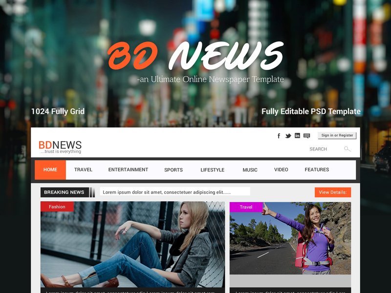 BDNEWS - Web UI/UX Design on Newspaper Template