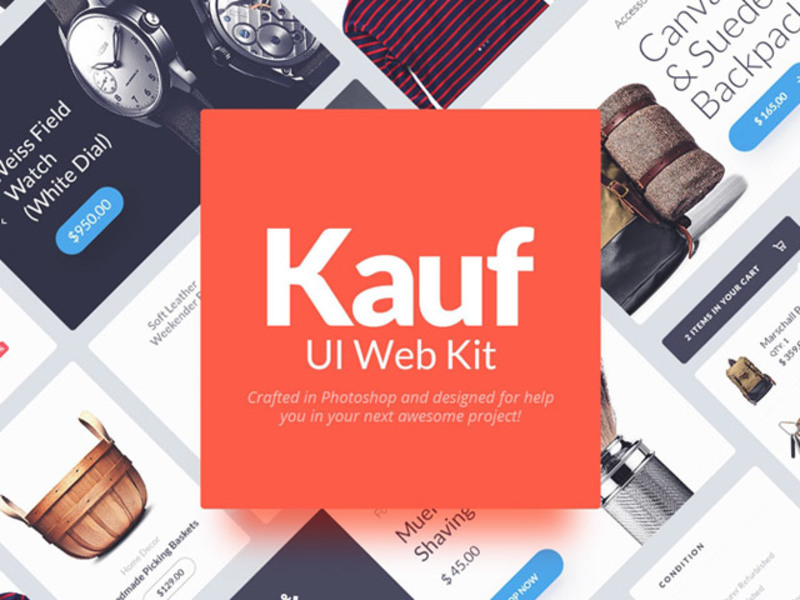 Kauf: Free web UI kit preview picture
