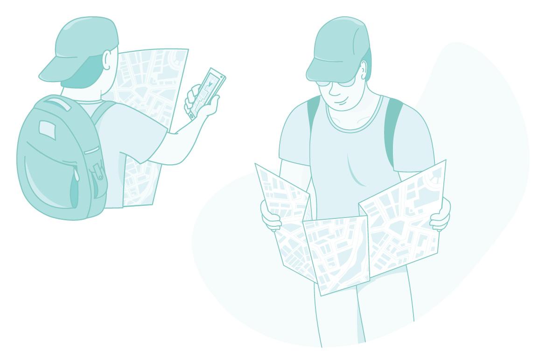 Illustrations of tourists