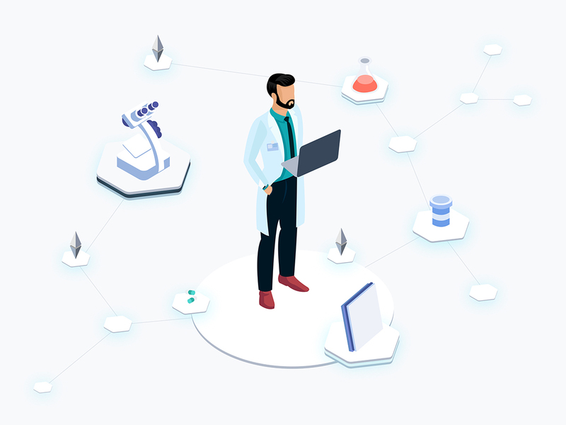 Health Blockchain Platfrom Isometric Graphic  preview picture