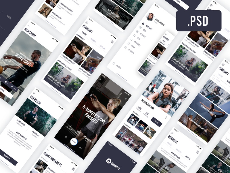 Fitness App - Free PSD preview picture