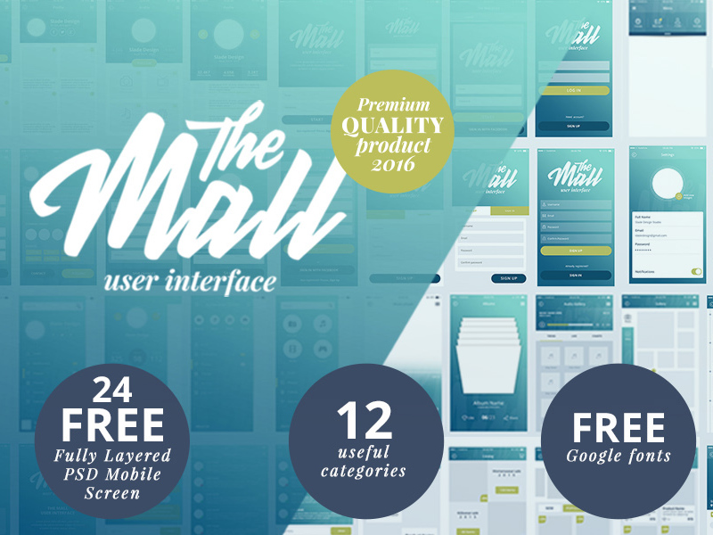 The Mall Mobile UI Kit [PSD] preview picture