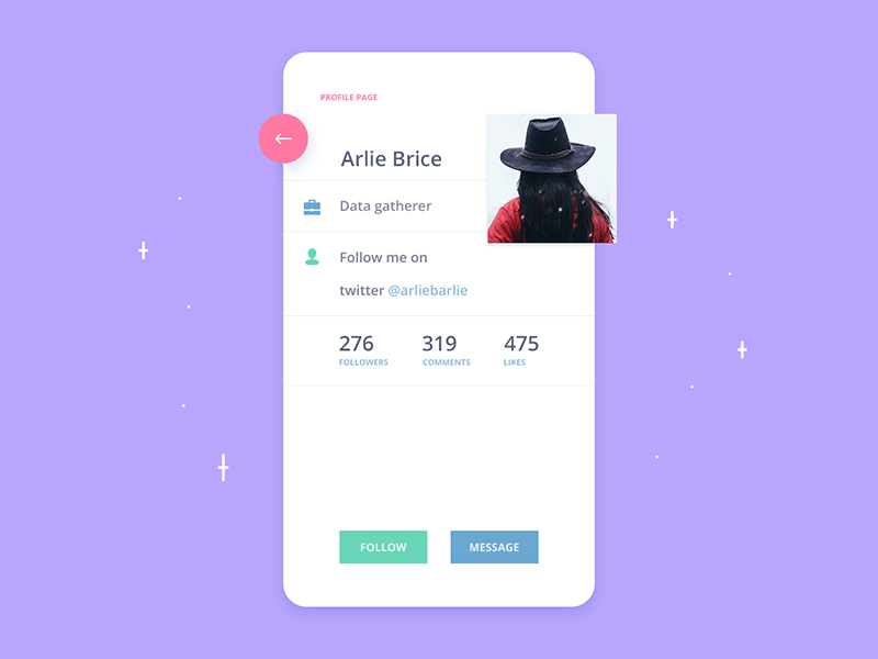 Profile page App UI preview picture