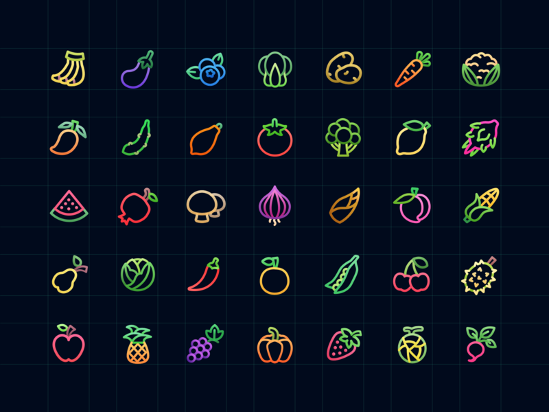 Colorful Fruit & Vegetable Icons preview picture