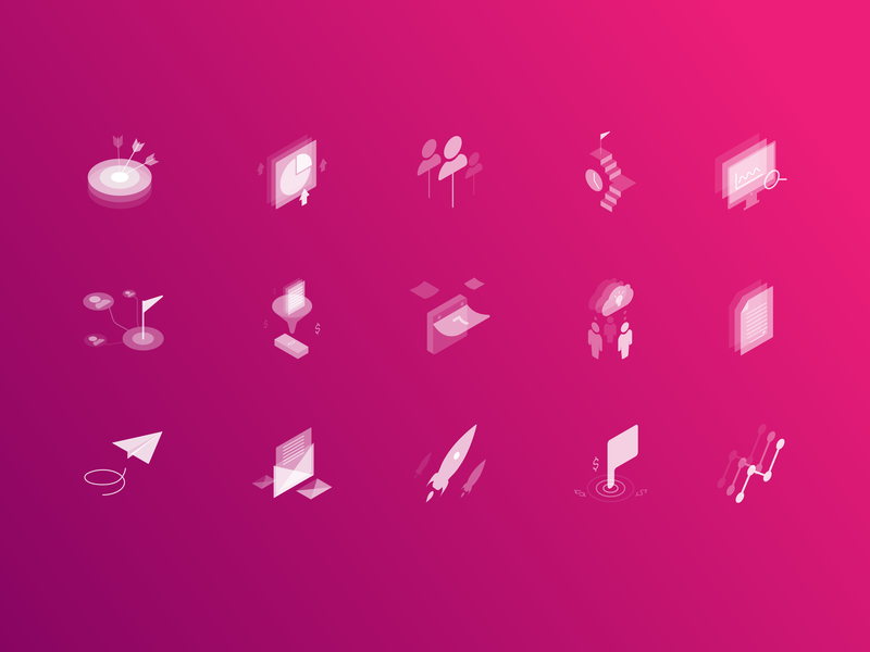 Marketing Isometric Transparent Icons preview picture