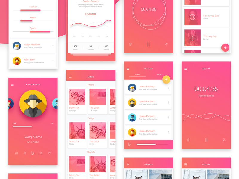 Matta Material Design Mobile UI Kit for Sketch