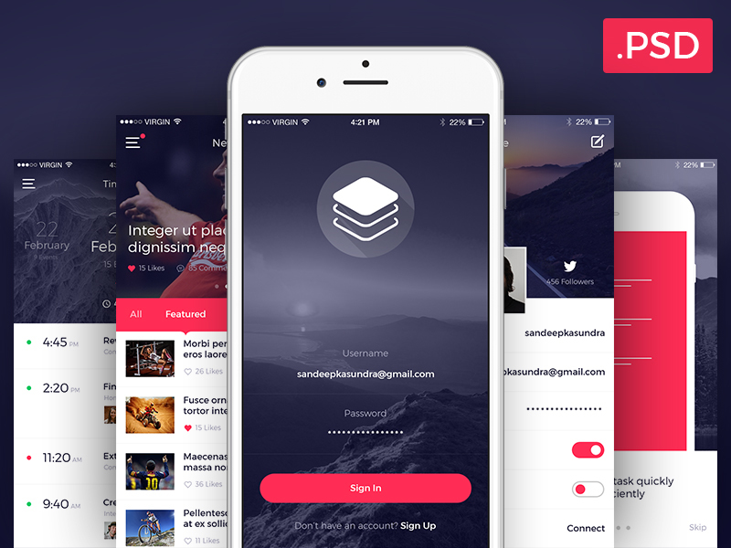 Clean & Modern iOS UI Kit [PSD] preview picture
