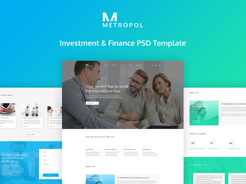 Metropol - Investment & Finance PSD Template preview picture