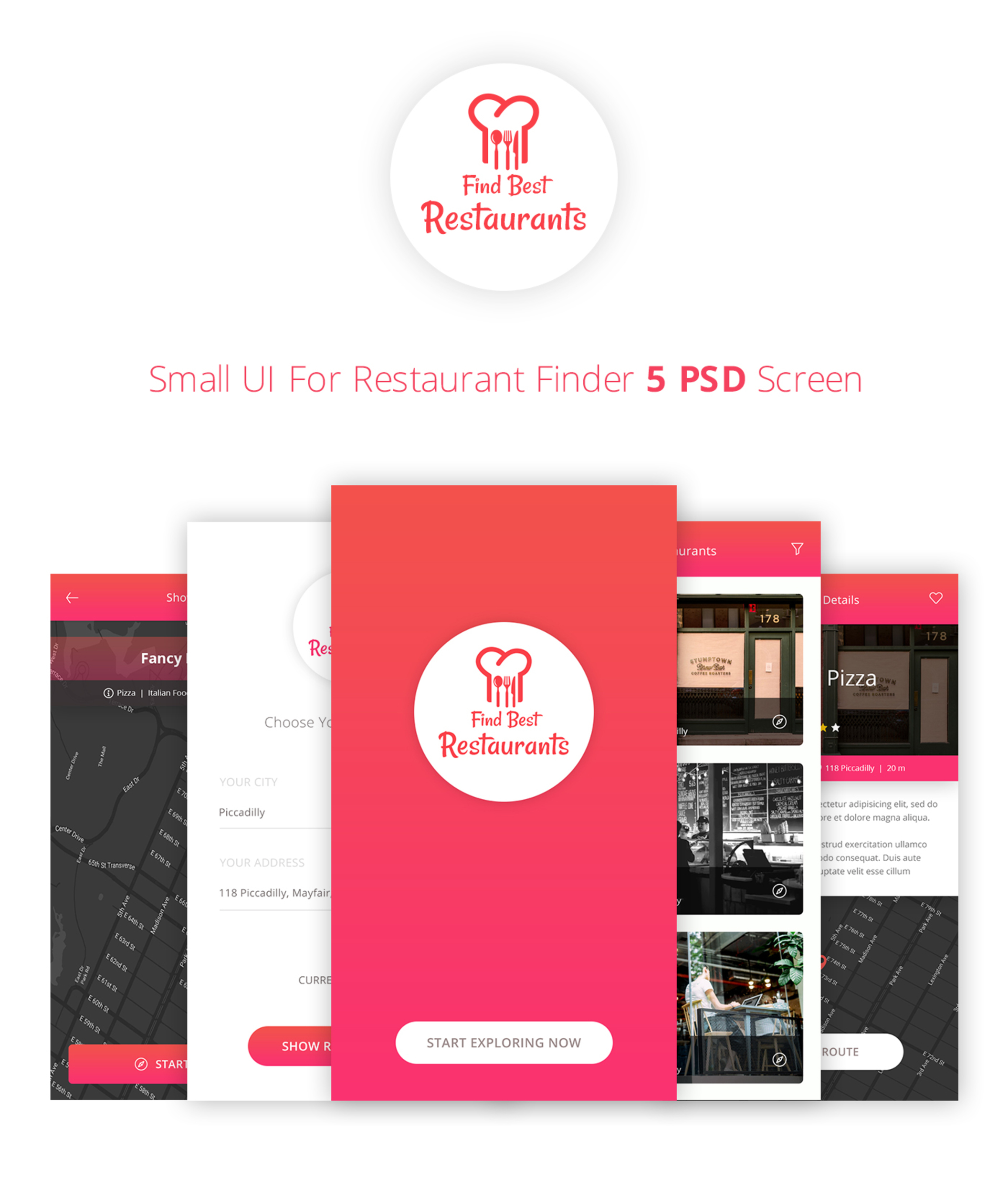 Find Restaurant UI [PSD]