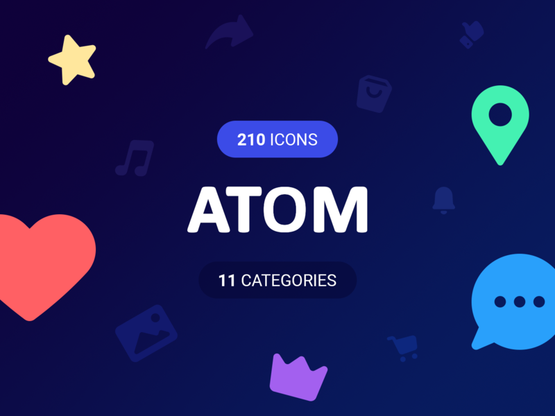 ATOM Icons! 210 Vector icons preview picture