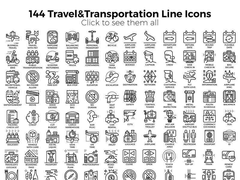 Travel & Transportation Icon Pack