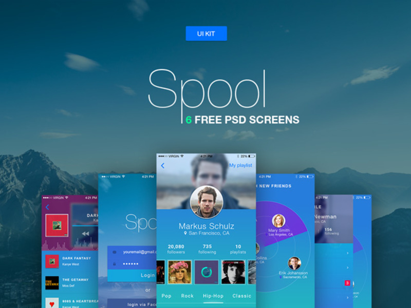 Spool - mobile ui kit [PSD] preview picture