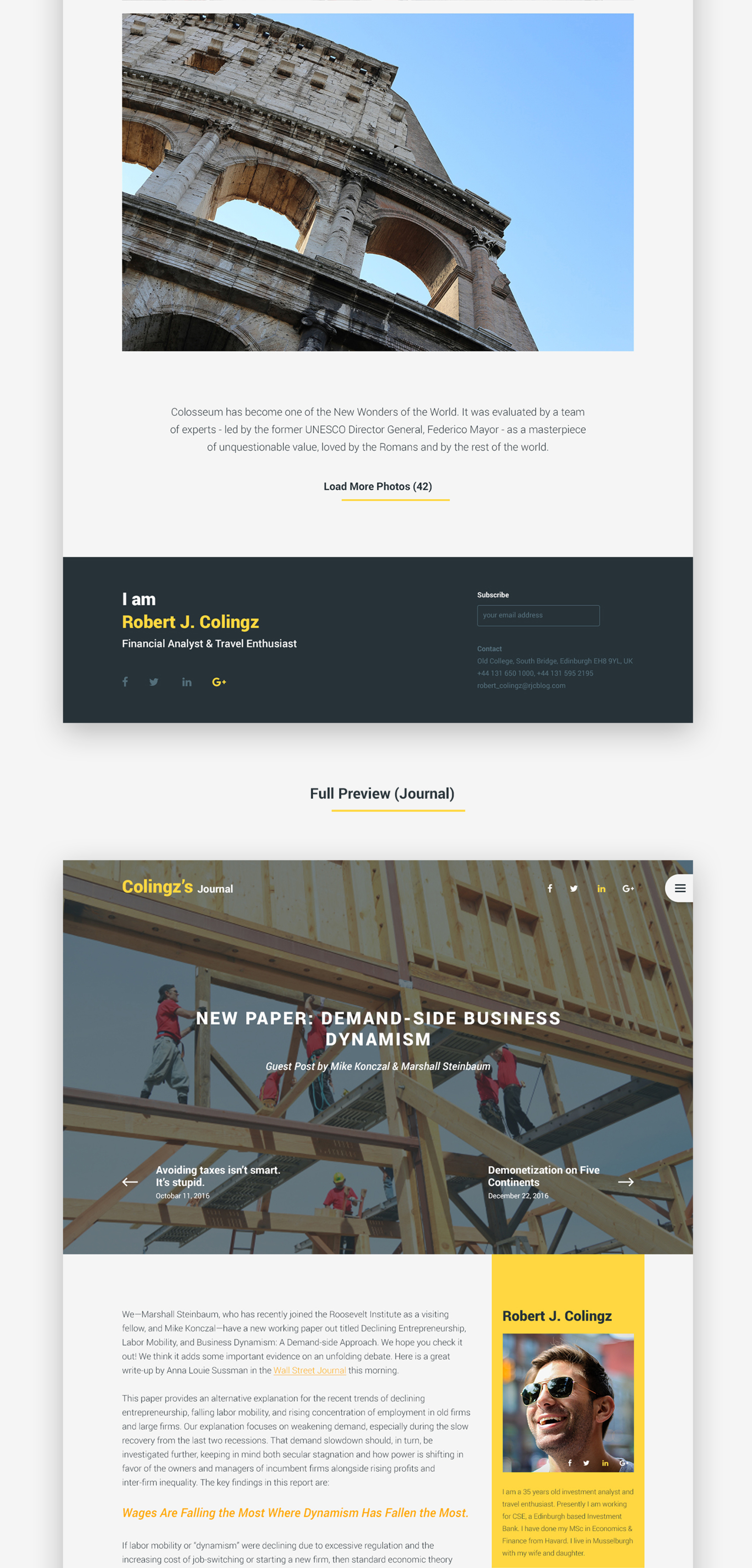 Colingz - Personal Website Template [PSD]