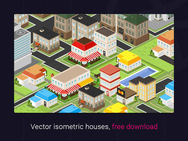 Vector isometric houses preview picture