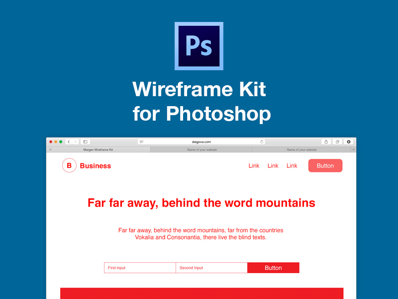 Wireframe kit for Adobe Photoshop
