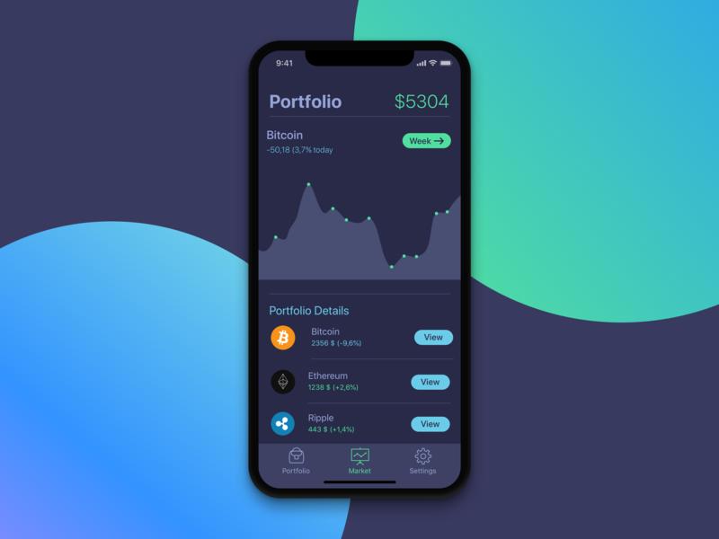 Portfolio Screen for Cryptocurrency app