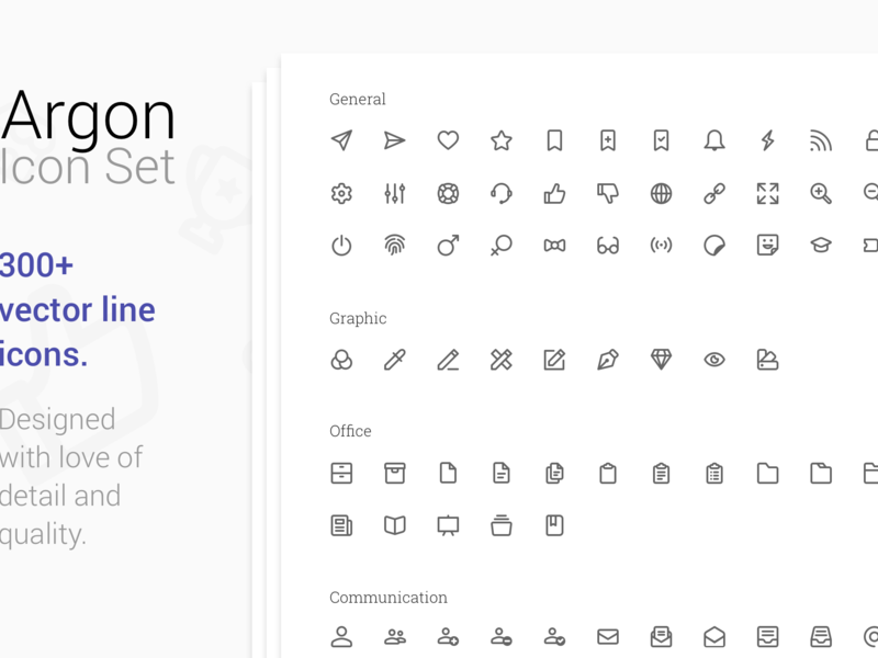 Argon Icon Set 300+ Perfect vector line icons.