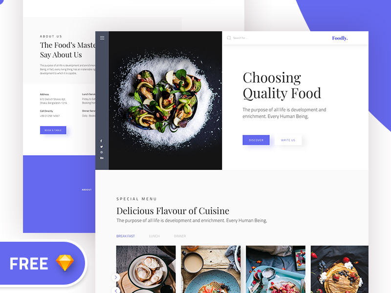 Foodly Free Landing page preview picture