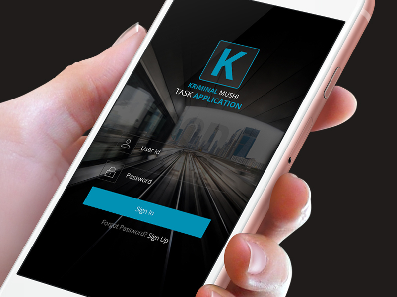 KRIMINAL Mobile App Design Login Free PSD preview picture
