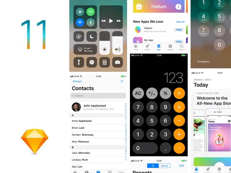 iOS11 GUI Sketch template preview picture