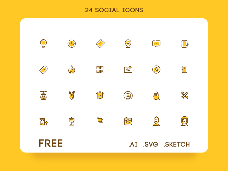 24 Free Social Icon Set preview picture