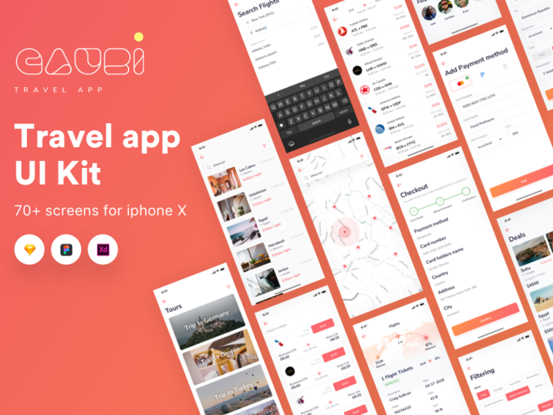 Gauri Travel app IOS ui kit preview picture