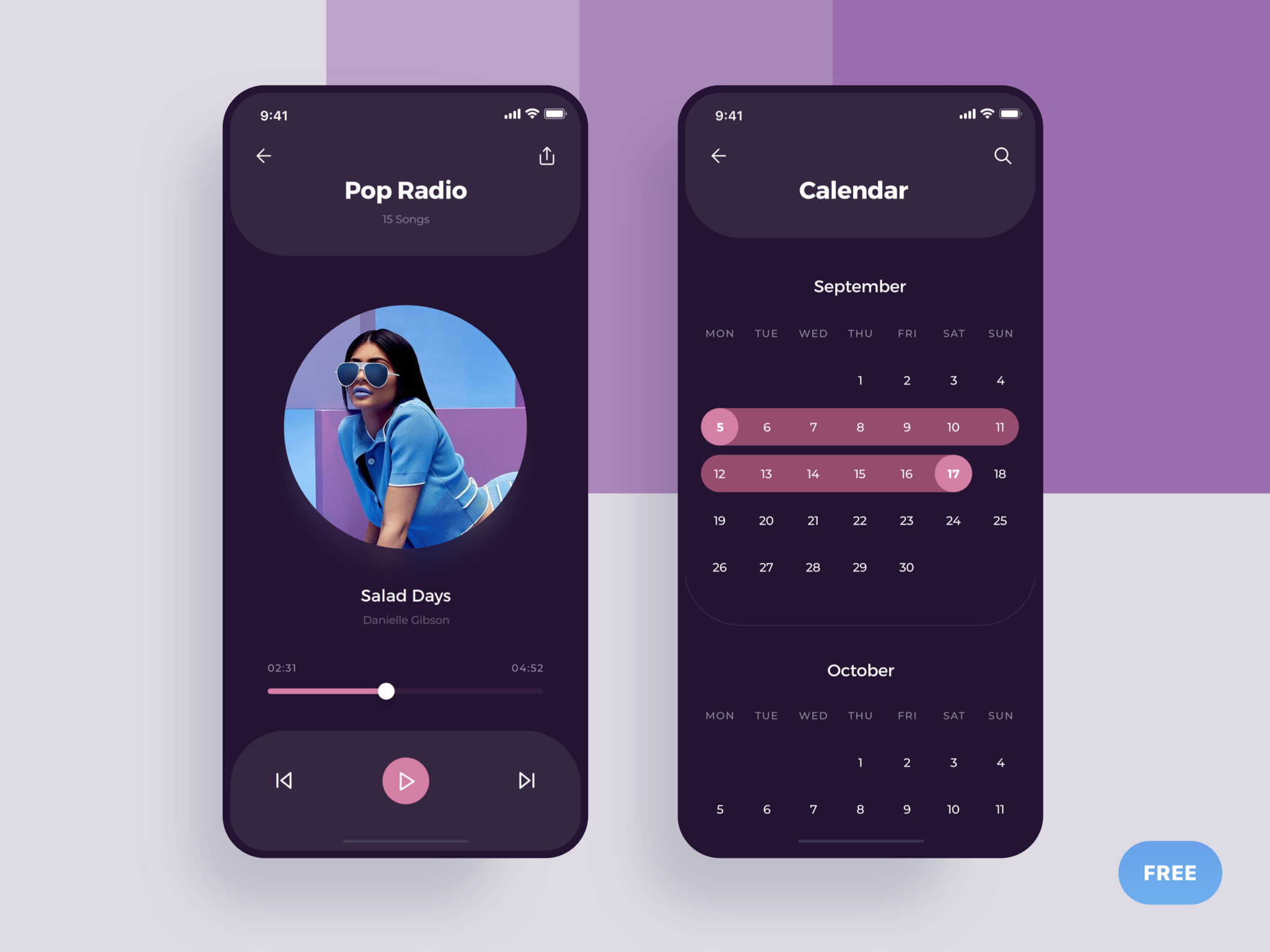 Player & Calendar - Social Meet Up Ui Kit