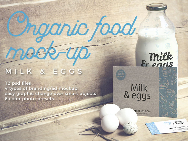 Organic Food Photo Mockup Milk & Eggs Vol.2 preview picture