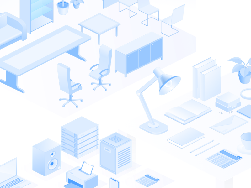 isometric vector illustrations - devices, interior, office items